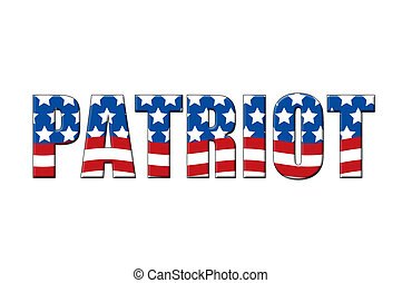 Patriot written in letters in the shape of the American...