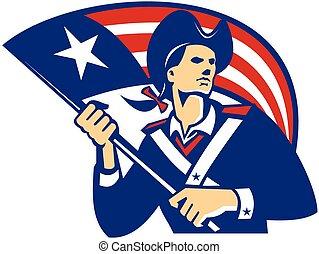 patriota, ángulo, fro, bandera, norteamericano, bajo