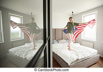 patriota, americano, alegre, celebrando, bandeira, dia, independência