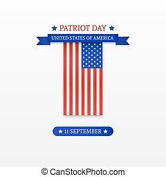 patriota, amerykanka, pasy, day., tło., bandera, szykowny