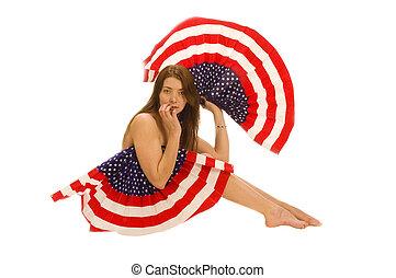 patriota, bandeira, americano, femininas, atraente