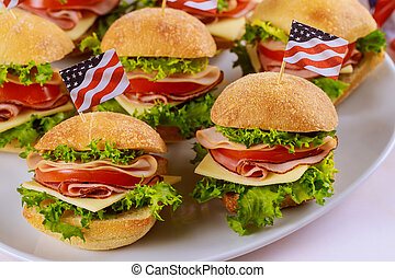 patriota, bandeira, americano, partido., sanduíches