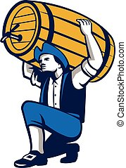patriota, barril, cerveja, isolado, americano, retro,...