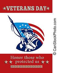 patriota, cartaz, saudação, americano, dia veterans, cartão