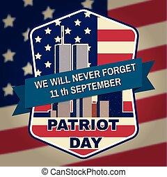 patriota, emblemat, flag., zabudowanie, amerykanka, odznaka, dzień