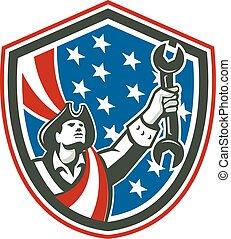 patriota, escudo, americano, retro, segurando, spanner