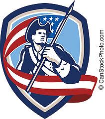 patriota, escudo, bandeira ondulando, soldado, americano