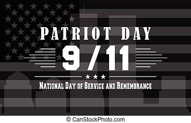 patriota, fondo, servizio, settembre, nazionale, 11., scuro,...