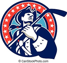 patriota, ghiaccio, americano, retro, cerchio, bastone hockey