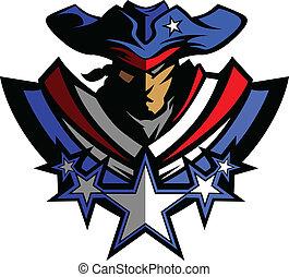 patriota, mascote, com, estrelas, e, chapéu, g