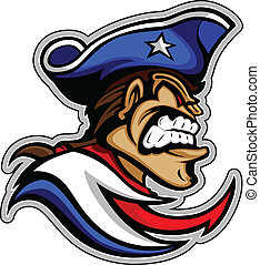patriota, mascote, com, má, expressão, e, chapéu, gráfico,...