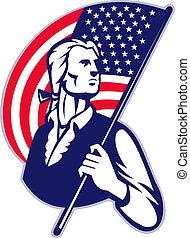 patriota, minuteman, bandeira, listras, americano, estrelas