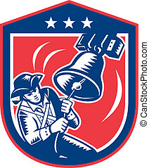 patriota, oscillazione transitoria, woodcut, campana, libertà, americano, retro