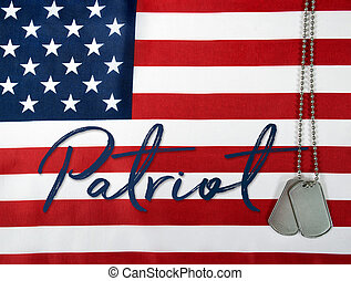 patriota, palavra, cão, etiquetas