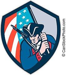 patriota, scudo, bandiera, americano, retro, presa a terra, brandire