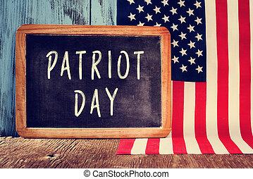 patriota, unido, texto, estados, bandera, pizarra, día