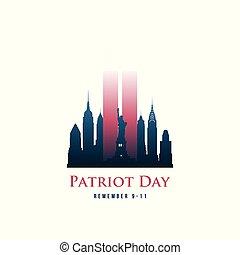 patriote, 9-11., rappeler, tours, jumeau, locution, jour, carte