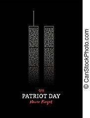 patriote, centre, banner., commercer, mondiale, york., nouveau jour