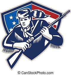 patriote, drapeau, frontiersman, raies, américain, étoiles