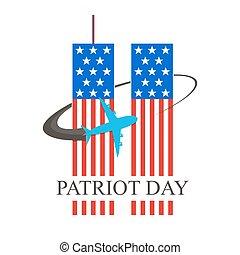 patriote, illustration., septembre, 11., jour, vecteur