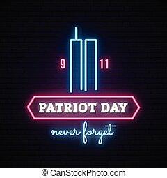 patriote, towers., néon, jumeau, bannière, jour
