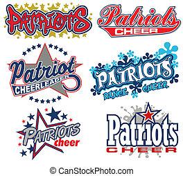 patrioten, beifallsruf, design, sammlung