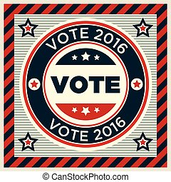 Patriotic 2016 voting poster with stars