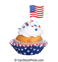 Patriotic 4th of July cupcake on white background