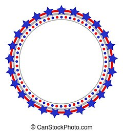 Patriotic abstract American flag round logo frame