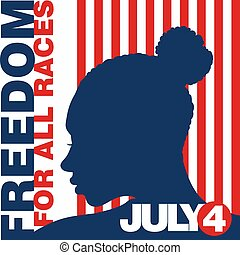 Fourth of July - Patriotic Afro-american woman in ...