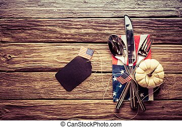 Patriotic American autumn or fall place setting