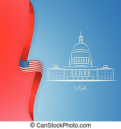 Patriotic American background with abstract USA flag and White house and Capitol building Washington DC symbol. Presidents day poster. Vector illustration.