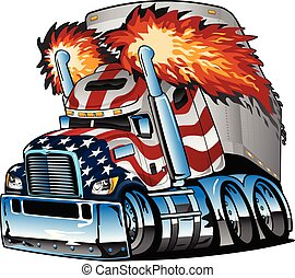 Awesome big rig diesel tractor trailer cartoon illustration, semi-truck with USA flag paint scheme, flames shooting from huge smoke stacks, big tires and rims, lots of chrome, sharp, highly detailed, isolated vector graphic for easy editing
