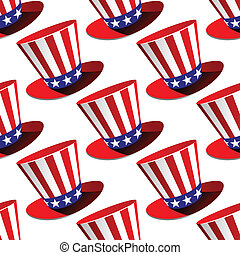 Patriotic American top hat seamless pattern