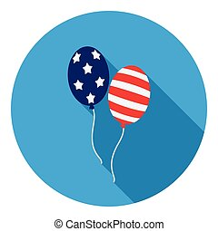 Patriotic balloons icon in flat style isolated on white background. Patriot day symbol stock vector illustration.