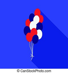 Patriotic balloons icon in flat style isolated on white background.