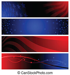 Red and blue patriotic banners for America