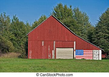 Patriotic Barn - Flag on an midwest barn.
