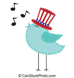 Patriotic bird wearing uncle sam hat singing with notes,...
