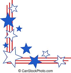 Patriotic stars and stripes corner border.
