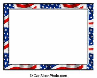 Patriotic Border - red white and blue patriotic beveled...