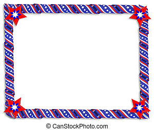 Patriotic Border Stars and stripes - 3D Image and...