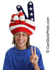 Patriotic Boy - Peace Sign - An immigrant child wearing a...
