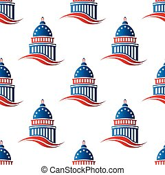 Patriotic Capitol seamless pattern