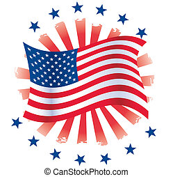 Patriotic Circle - Waving Flag with stars and grunge...