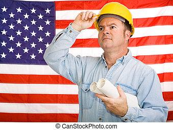 Patriotic Construction Worker