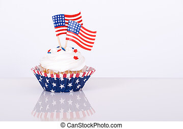 Patriotic cupcake with decorative American flags
