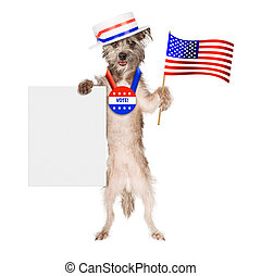 Patriotic Dog Voter Blank Sign - Cute dog wearing politician...