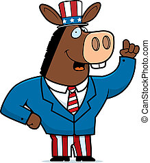 Patriotic Donkey - A happy cartoon donkey in a patriotic...