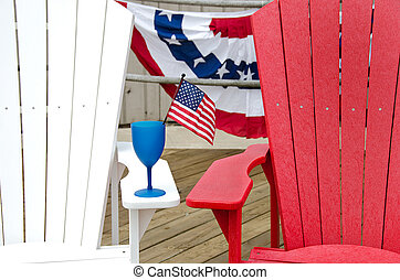 patriotic drink on chair - Drink with flag on armrest of...